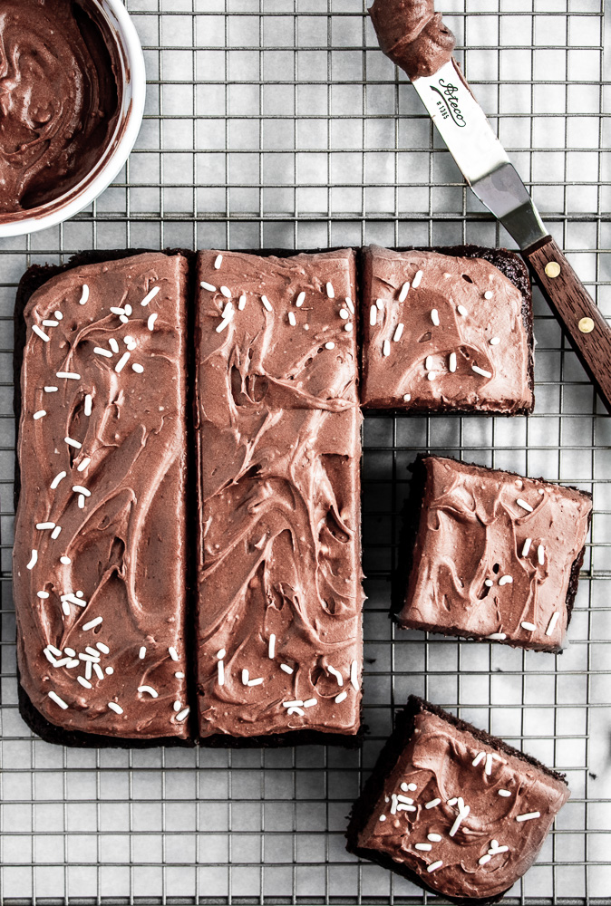 Chocolate snack cake on a wire cooling rack