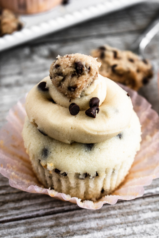 Chocolate chip cupcake with edible cookie dough on top