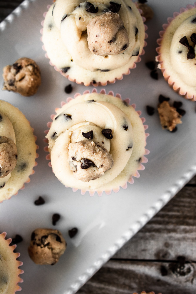 Chocolate chip cupcakes on a white plate