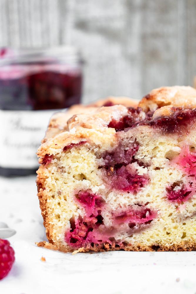 Close up shot of lemon raspberry swirl cake