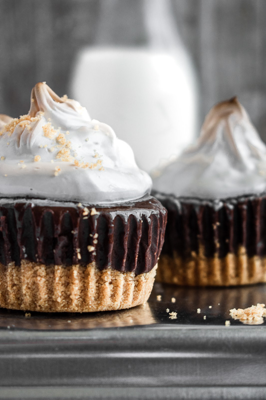 Close up of mini s'mores cheesecakes