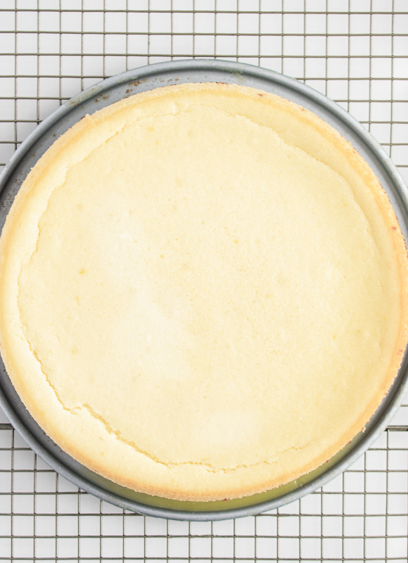 Baked ricotta cheesecake on a cooling rack