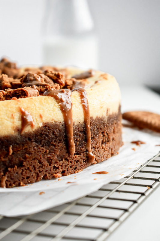 Drizzle of cookie butter on a cheesecake