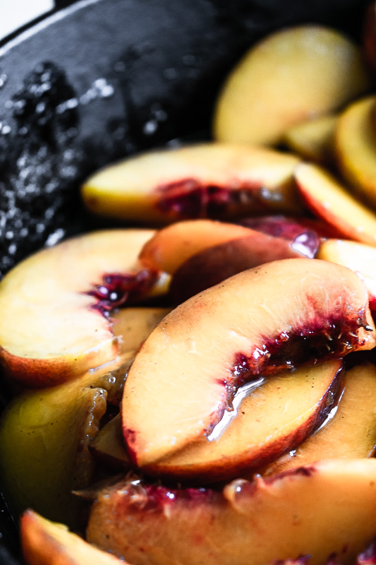 Close up of Colorado sliced peaches for peach cobbler.