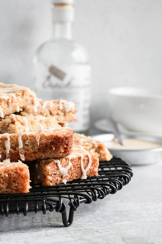 Stack of blondies on a black wire cooling rack