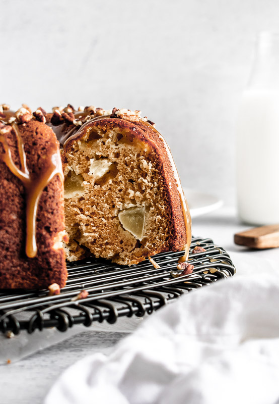 Coffee bundt cake with slice cut out