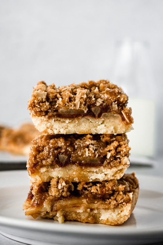 Three apple pie bars stacked on top of each other