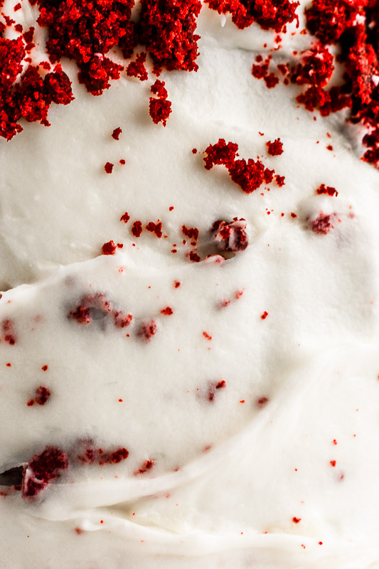 Peppermint cream cheese frosting with red velvet cake crumbs