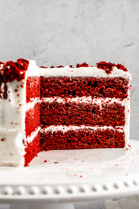 Inside of red velvet layer cake