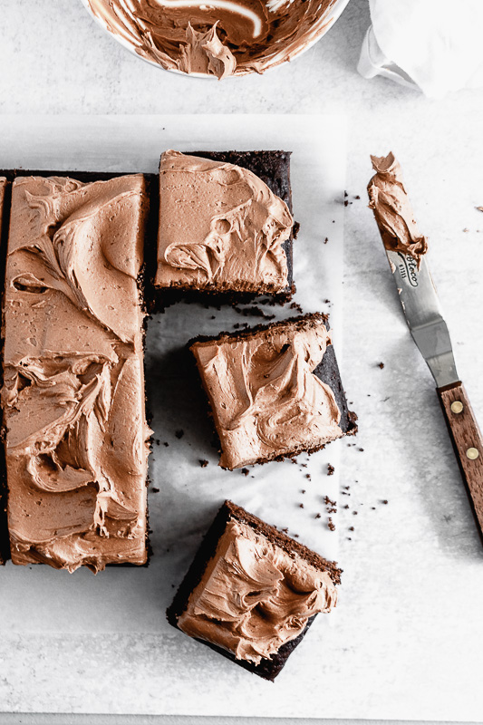Slices of dark chocolate snack cake on parchment paper
