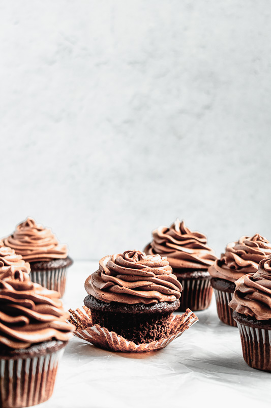 Double dark chocolate cupcake with cupcake liner removed