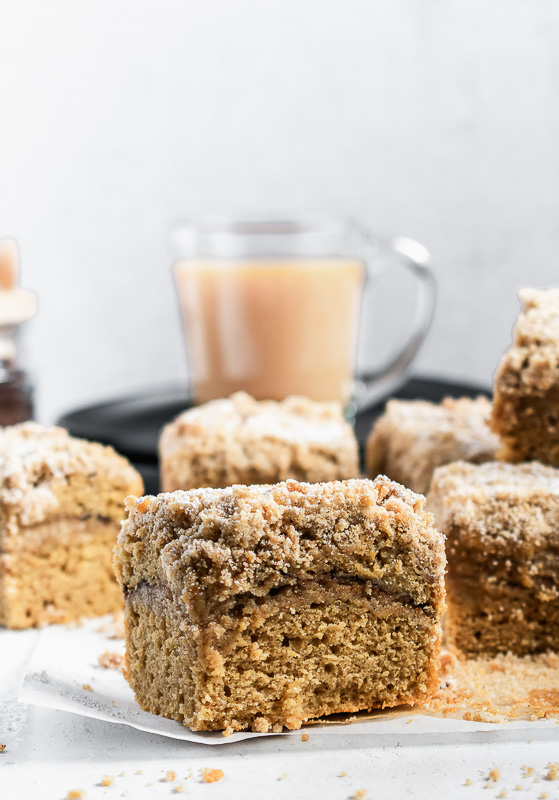 Large slice of Irish coffee cake on parchment paper