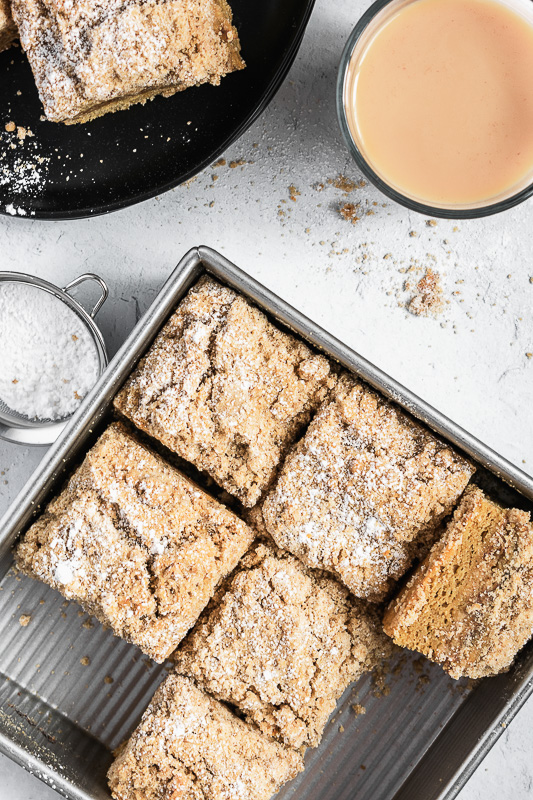 Slices of coffee cake in a cake pan