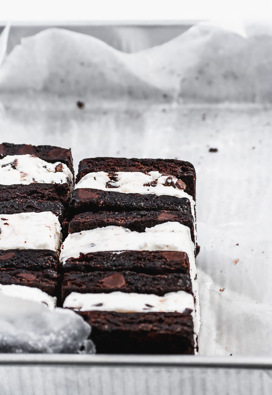 Brownie ice cream sandwiches in a 9x13 inch pan