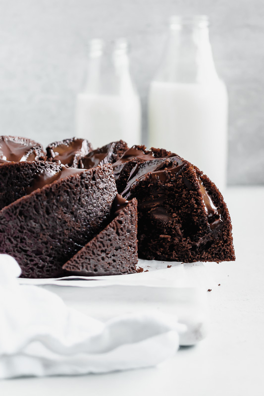 Chocolate bundt cake with slice taken out