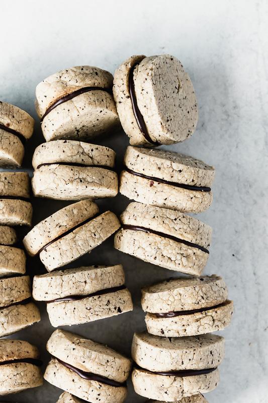 Espresso sandwich cookies with ganache filling