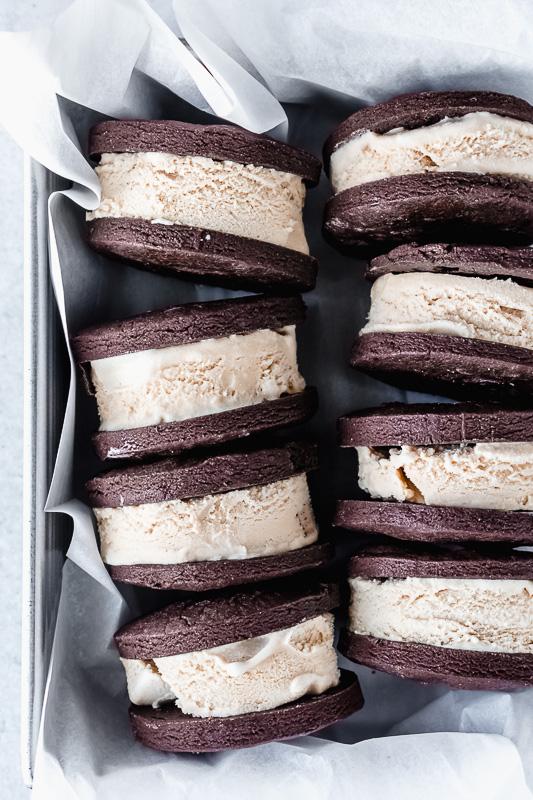Mocha ice cream sandwiches in a metal pan