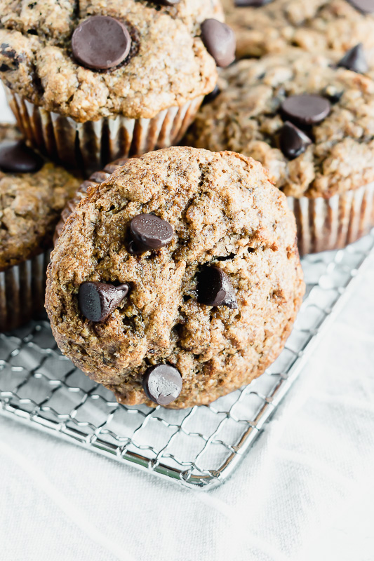 Spiced banana muffins on a wire rack