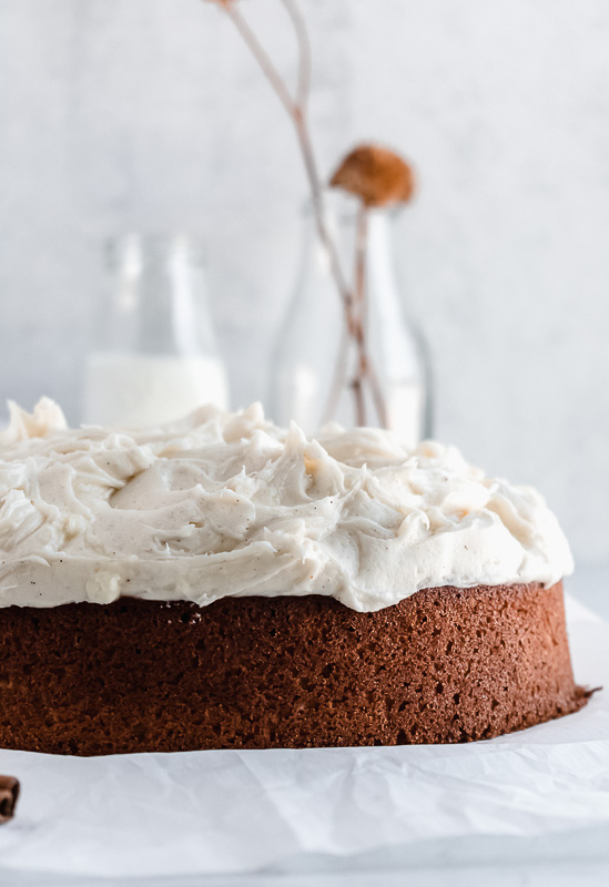 One layer spiced chai cake with vanilla bean cream cheese frosting on top