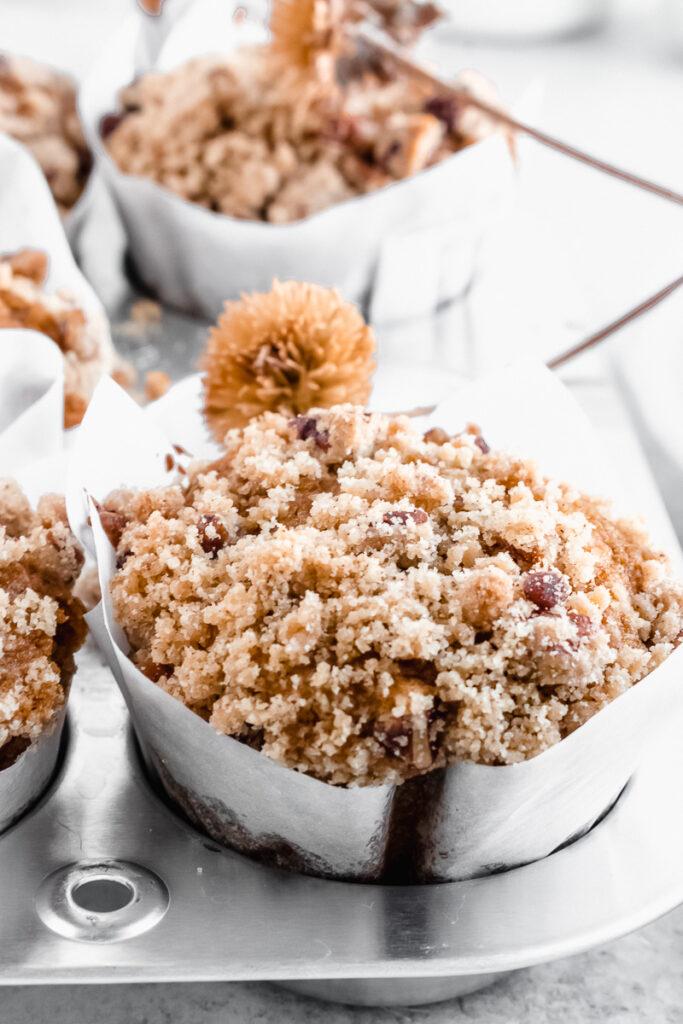 Pumpkin spice muffins with brown sugar streusel
